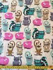 Snuggle Flannel Kitty Breeds Cats Kittens Beige Pink Blue 100 Cotton Fabric BTY