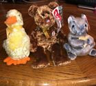 LOT OF 3 TY BEANIE BABIES RETIRED Duck-e,Champion Bear, Cheddar Mouse w/ ERRORS