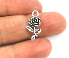 Antique Silver Tibetan Metal ROSE FLOWER Charms Pendant Beads Crafts Cards