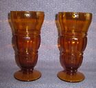 VINTAGE Two (2) Amber Footed Soda Fountain - Parfait - Ice Cream Sundae Glasses