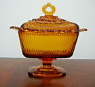 Indiana Amber Glass Pedestal Covered Dish Lace Edge Vintage