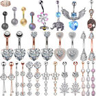 Flower Heart CZ Navel Belly Ring Surgical Steel Bar Button Ring Piercing 14G