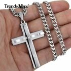 Silver Cross Charm Pendant Necklace 5mm Stainless Steel Curb Cuban Chain 18 36