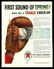 Original 1951 Texaco Gas Oil Baseball Glove Catcher's Vintage Magazine Print Ad