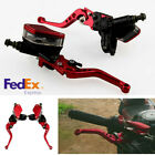 Pair CNC Motorcycle Hydraulic Brake Clutch Master Cylinder Reservoir Lever (USA)