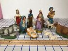 Nativity Creche Italy 12 pc Christmas Antique Figurines set Chalkware Antique ue
