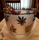 Libby Glass ~ Ice Bucket with Tongs~Barware Frosted Silver Leaves~Vintage