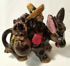 VINTAGE DONKEY WITH SIDE BAG SALT AND PEPPER SHAKERS JAPAN