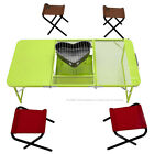 TOMSHOO Combo Treble Folding Table Desk with Four Chairs Picnic Camping C5X6