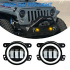 FOR 07 17 JEEP Wrangler JK CJ TJ 4Inch LED Amber Fog Light Bumper Lamps