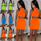 Women 2 Piece Bodycon Two Piece Crop Top and Skirt Set Bandage Dress Party US