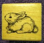 1987 BUNNY RABBIT Rubber Stamp with Wood Base by Hero Arts w FREE SHIPPING