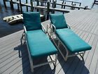 FURNITURE CUSTOM OUTDOOR PATIO POOL 2 adjustable Lounge Chairs RELAXING CUSHIONS