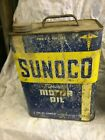 Vintage Sunoco Mercury Made Motor Oil 2 Gallon Can Gas Station Advertising