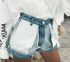 Vintage Denim Shorts For Women Patchwork Loose Street wear Jeans High Waist Sexy