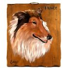 Vintage Dog Painting on Wood Plank Border Collie from the 1980s Signed by Artist
