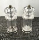 Cole  Mason Clear Acrylic Salt  Pepper Mills Grinders Made In England Used