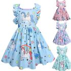 Girls Unicorn Dress Pink Cartoon Party Prom Fancy Princess Costume Gift for Kids