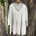 Flax Large Tunic Top Womens White Button Down 3 4 Sleeves 100 Linen