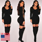 Womens Bandage Bodycon Long Sleeve Evening Party Cocktail Club Short Mini Dress