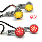 4X Bullet Motorcycle Chrome LED Turn Signal Lights Brake Tail Light Amber RED US