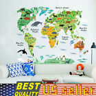 CHILD BEDROOM DECAL Removable Sticker Animal World Map Wallpaper Kid Baby Bath