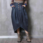 Vintage Denim Skirts For Lady Mid calf Solid Fit Fashion Style Jeans Skirt Loose