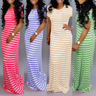 Plus Size Womens Short Sleeve Maxi Long Loose Dress Solid Party Shirt Sundress
