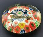 GORGEOUS Vintage millefiori Glass Paperweight Original Label VTG Floral Flowers