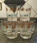 Vintage Old Fashioned Glasses Gold Light Blue Mid Century 7 Pieces Flower Power