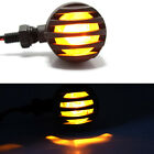 2x Black Grill Retro Cafe Motorcycle Turn Signals Light Amber Brake Running Tail