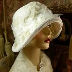 1920S VINTAGE STYLE OFF WHITE BRIDAL BEADED FEATHER CLOCHE FLAPPER HAT