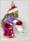 CHRISTOPHER RADKO CHRISTMAS ORNAMENT Child on Snowball making Snowman