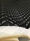 Black Carbon Fiber Faux Quilted auto headliner headboard fabric with Foam back