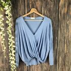 Altard State Top Smal Womens Faux Wrap Baby Blue Long Sleece Dolman Oversized