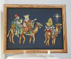 Vintage Framed Cross stitch Embroidery of 3 Kings Christmas Nativity 13 by 10