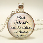 Best friends Cabochon Glass Tibet Silver Chain Pendant Necklace gift