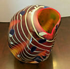 Dale Chihuly signed Cinnamon Macchia Basket with Ruby Lip Wrap