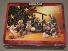 Kirkland Porcelain Nativity Set 75177 w Wood Creche 12 Piece Christmas