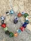 20 Beads Multicolored Mixed Heart glass lampwork 15mm Beads DIY JEWELRY MAKING