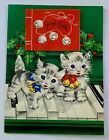 Vintage Christmas Greeting Card Kittens on Piano