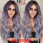 Women Curly Hair Full Wig Natural Long Wavy Ombr Lavender Purple Pink Fashion