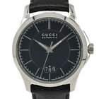 Auth Gucci YA126430 Black Dial Date SS/Leather Automatic Men's Watch F#86528