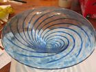 Vintage Blue Swirl Striped Art Glass Dish Bowl Signed Rogers Glass Works