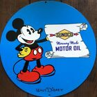 VTG SUNOCO GASOLINE PORCELAIN GAS MICKEY MOUSE MOTOR OIL SIGN PUMP PLATE (0204)