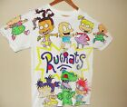 VTG 90 Rugrats All Over Print T Shirt Nickelodeon White Small