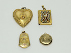 Vintage 1 20 12K Gold Filled GF Locket Charms Pendants Set of 4