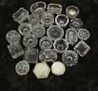 Vintage Mixed Lot Of 25 Open Salt Dip Cellars Pressed Cut Glass Crystal Round