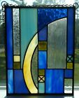 New Handmade Stained Glass Suncatcher Panel with Chain Multi color