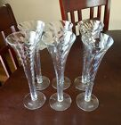 Mouth Blown In Romania Champagne Trumpets Flutes Set Of 6